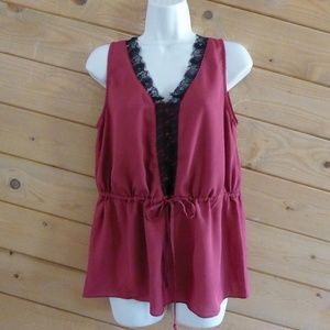 MM Couture Miss Me Burgundy Maroon Tunic Blouse M